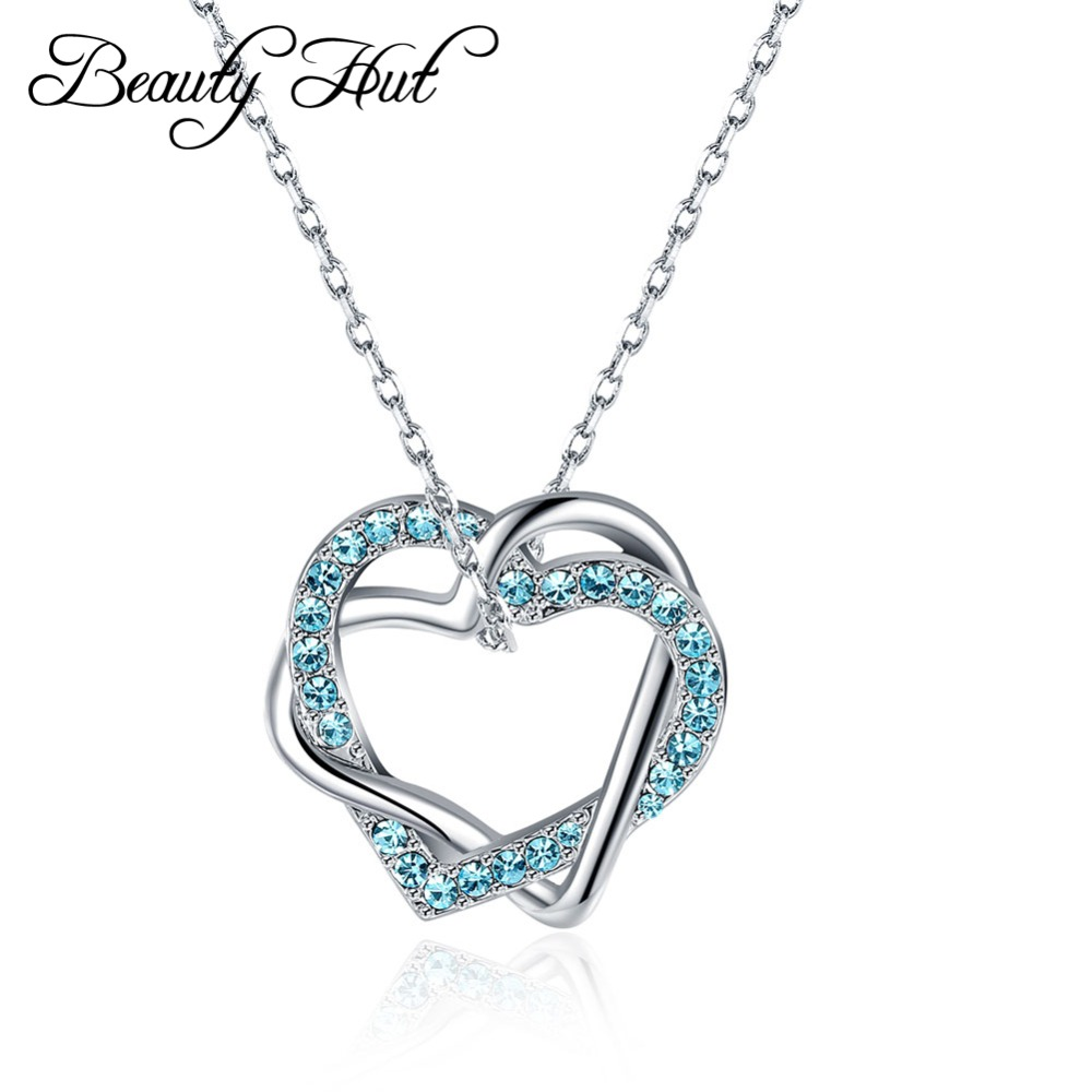Beauty Hut N006 2 Green Crystal 2 Heart Pendant Necklace