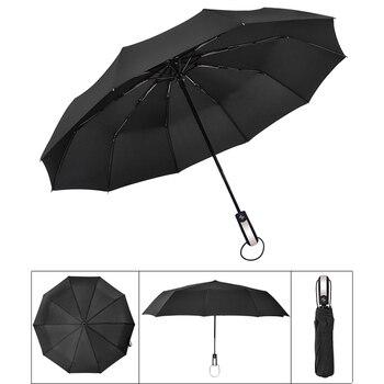 Nouveau Vent Résistant Entièrement automatique Trois Parapluie Pliant Mâle Commerciale Compact Grand Forte Cadre Coupe-Vent 10 Côtes Parapluies
