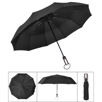 Nova Resistente Ao Vento Fully-automático de Três Guarda-chuva Dobrável Guarda-chuva Comercial Masculino 10 Compacto Grande Armação Forte e À Prova de Vento Costelas Guarda-sóis