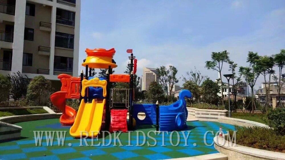 Exporté au Canada système de jeux antirouille enfants en plein air jouer toboggan HZ-D7146A