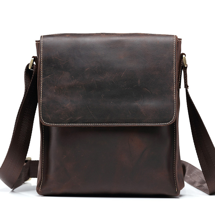teemzone Hot Sale Men s Crazy horse genuine Leather font b Handbag b font Messenger Shoulder