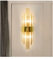 Creative Golden Luxury Indoor Living Room Crystal Wall Lamp Bedside Lamp Led Post Modern Classic Hotel Aisle Corridor Light