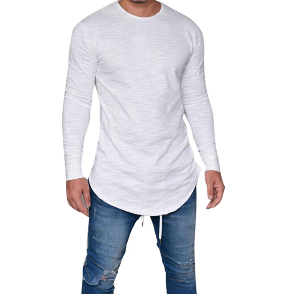 New casual Men summer 2018 Slim Fit O Neck Long Sleeve Muscle Tee daily men's T-shirt Casual Tops Black F80