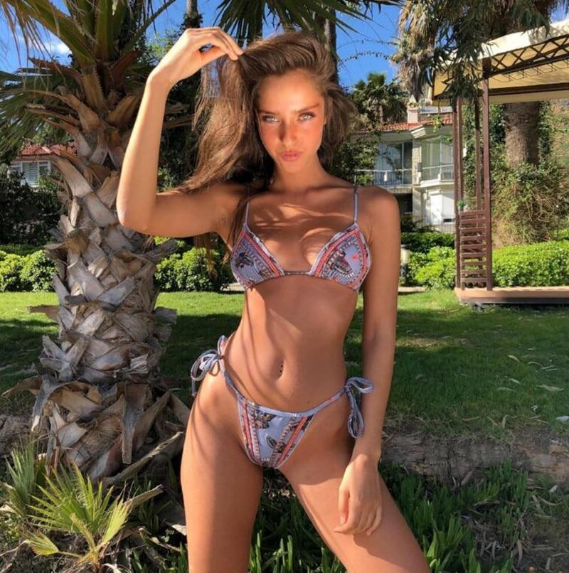 women New style bikini set High quality bandage swimwear 2018 Summer Hot bathingsuit push up biquini print Owl swimsuit