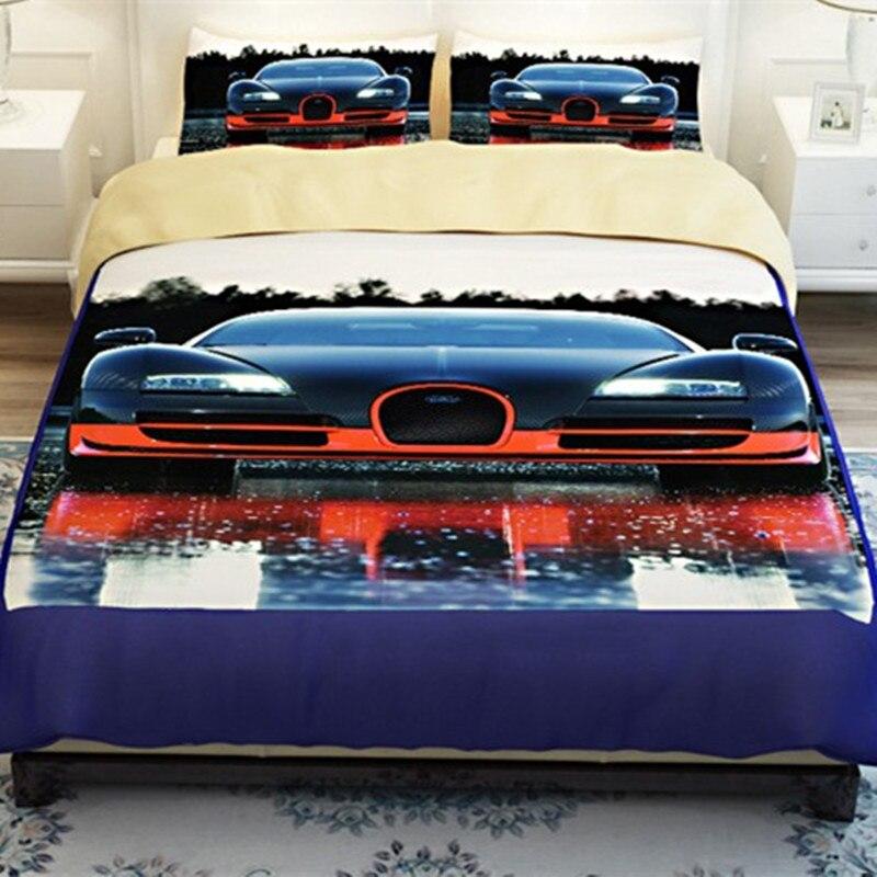 Высокое качество 3d постельных принадлежностей 4 шт. автомобильный принт плед двуспального размера постельных принадлежностей s пододеяльник простыня, наволочка домашний текстиль
