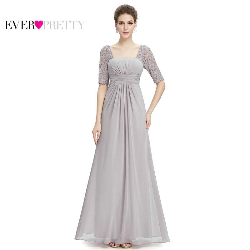 [Clearance Sale] Ever Pretty Women Elegant Long Bridesmaid Dresses Chiffon Lace A Line  Backless Wedding Bridesmaid Dress