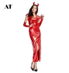Для женщин Косплэй костюм демон, дьявол боди пикантные вечерние Косплэй взрослый костюм