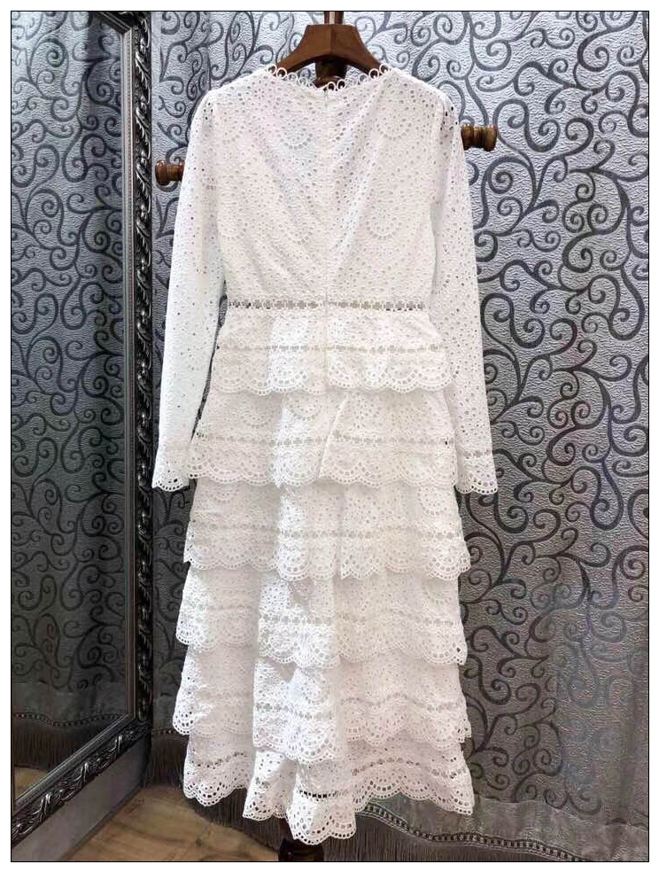 Top Quality Dress New 2018 Autumn Fashion Party Wedding Women Sexy V-Neck Hollow Out Embroidery Cascading Ruffle Long Dress Maxi 7