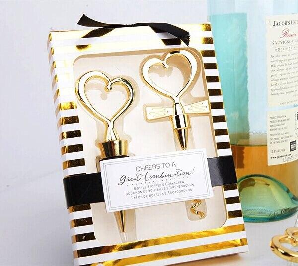 Souvenir Pernikahan Mewah Combination Wine Set Cheers To A Great Combination Gold Wine Set Bottle Opener