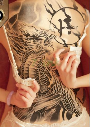 Waterproof Temporary Tattoo Sticker China Myth Dragon Tattos  Water Transfer Fake Tatoo Flash Whole Back Tattoo For Man Woman