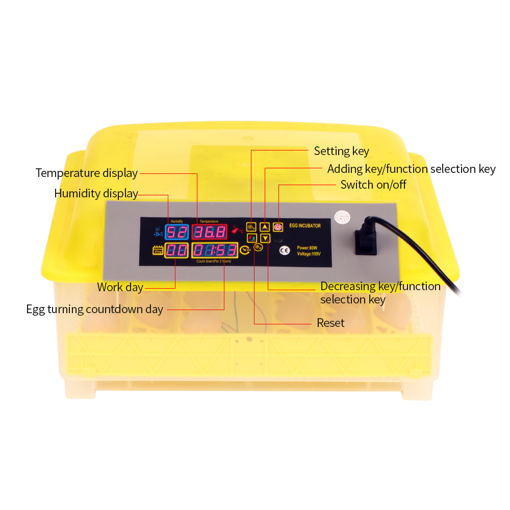 AC110 220V 48 Eggs Intelligent Automatic Egg Incubator LED Display Temperature Control Hatcher for Chicken Duck