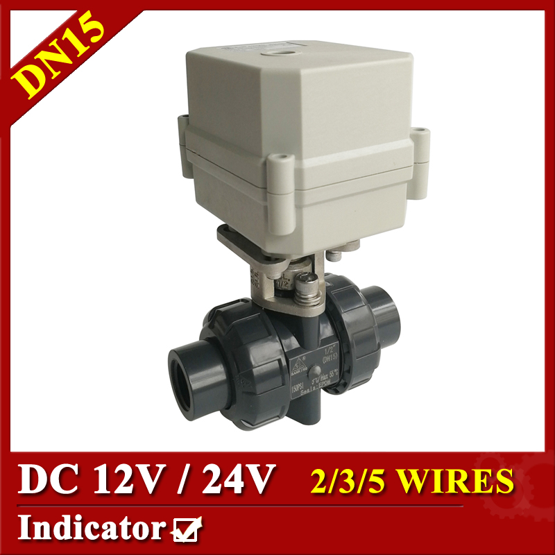 Tsai Fan motorized ball valve 1/2 DC12V/24V PVC-U control electric ball valve 2/3/5 wires with indicator Plastic ball valve 1 4 dc12v electric motor valve 2way dn8 motorized valve 5 wires cr501 with indicator and manual override