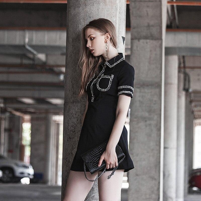 Rue Manches Europe Nouvelle Noir Robe Revers Féminine D'été Courtes À Type Un E0883 Couture Tempérament xY5xgqwd4p