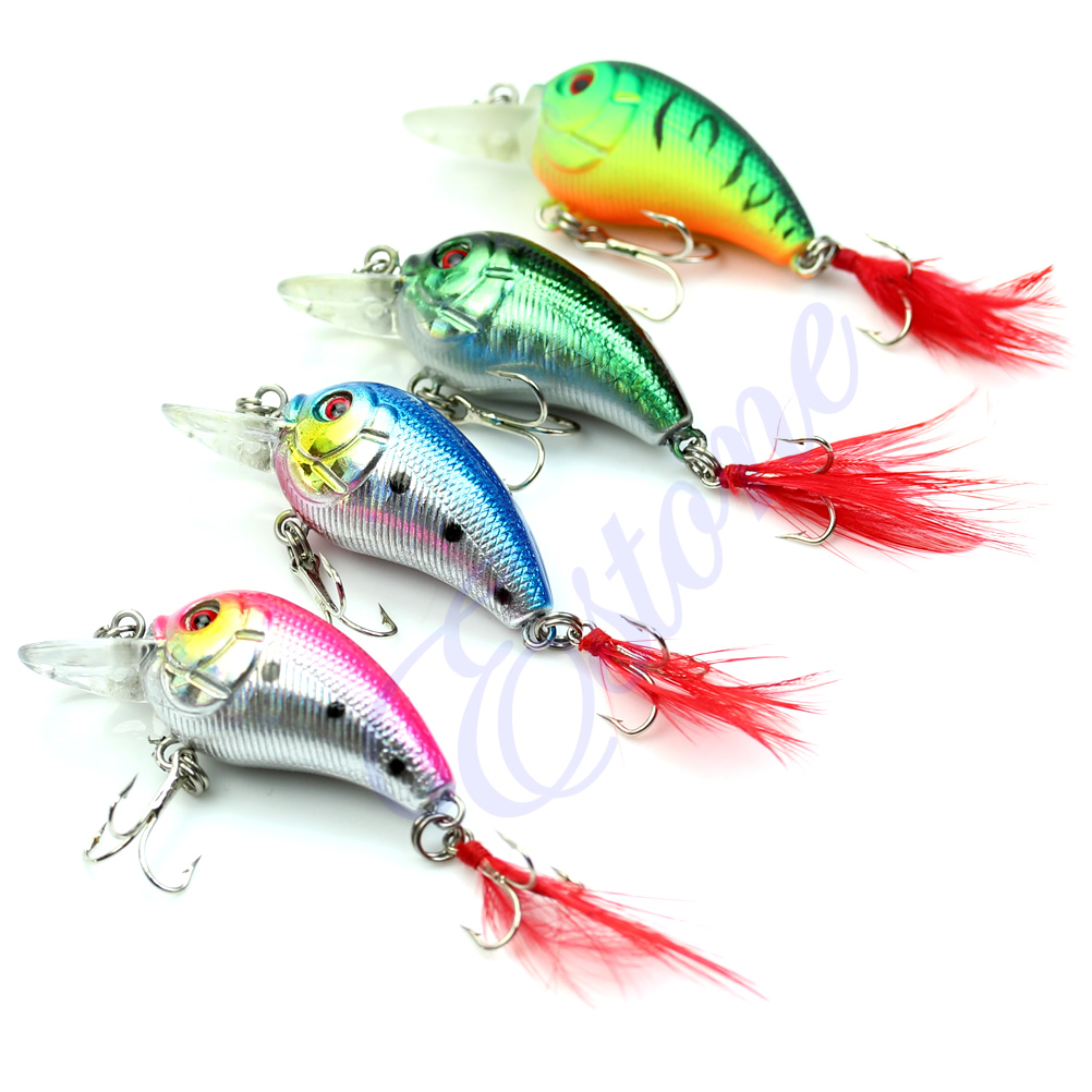 Image 2 - 5pcs 85mm 4g Biomimetic Fishing Lures Crankbait Feather Sharp Hook Tackle Treble Fishing Accessories-in Fishing Lures from Sports & Entertainment