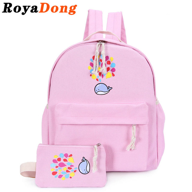 RoyaDong Brand 2017 Portfolio School Bags For Teenagers Girls Cute Canvas Women's Backpacks Set Candy Color Children School Bags