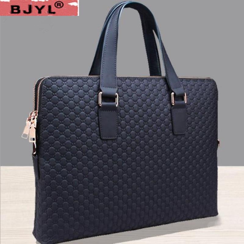 """Genuine Leather Men Handbag Business Briefcase Cross Section Shoulder Diagonal Blue/Black Leather Male 14"""" Laptop Messenger Bag"""