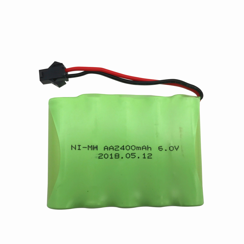 6V 2400mAh Ni-MH Rechargeable AA Battery Pack with SM 2P Plug for RC Car and Other Similar Remote Control Toys