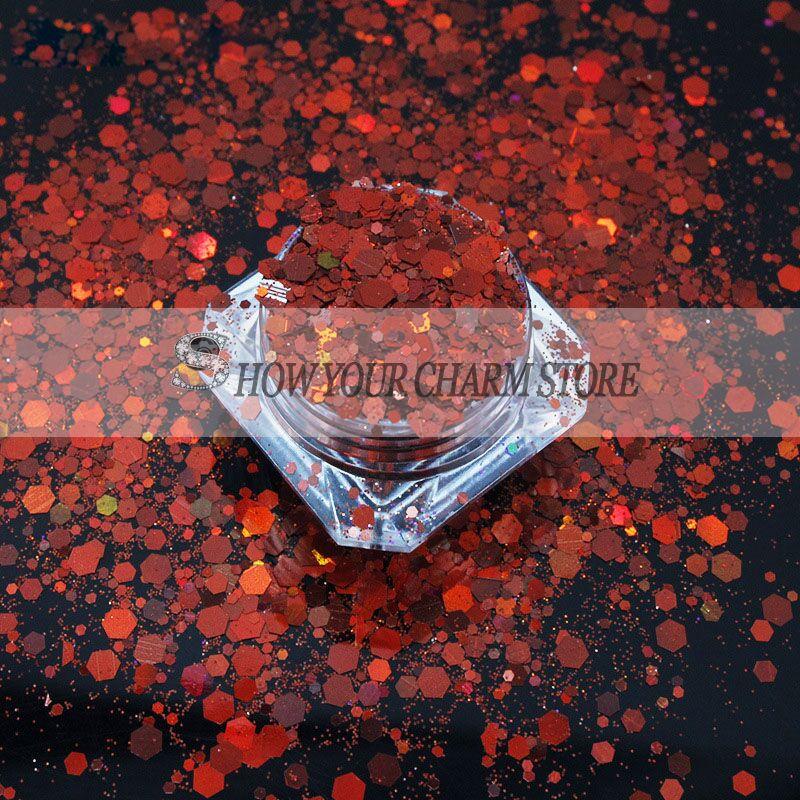 13 الألوان 1 كجم التصوير المجسم ليزر روز بريق مزيج مسدس شىء صغير براق تلألأ مسحوق شكل لمسمار الفن بريق الحرفية الديكور-في ملمع الأظافر من الجمال والصحة على  مجموعة 1