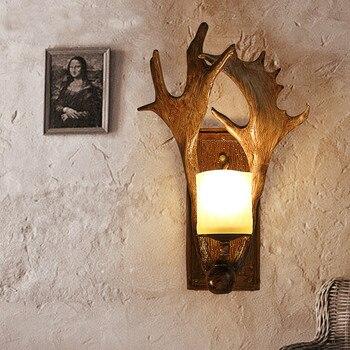 Retro creative wall lamp antler wall lamp bed bedroom personality deer head aisle American lamps