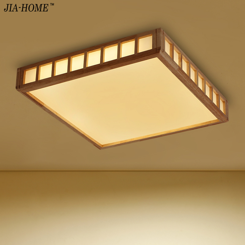 Ceiling Lights Surface mount fixture Square Wooden Ceiling Lamp For Living Room Bedroom home Decorative Lampshade