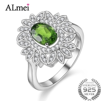 Almei 1ct Diopside Valentine's Day Gift Womens Silver 925 Wedding Large Colored Bloom Flower Green Ring with Free Box 40% FJ113