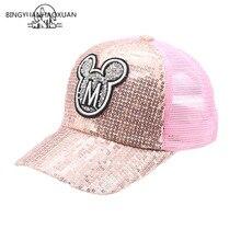 2019 Children Hip Hop Baseball Cap Summer Sequin M letters kids Sun Hat Boys Girls Snapback Mesh Caps For 2-8 Years old