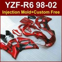 FT6R ABS carenados para YAMAHA YZF R6 1998 1999 2000 2001 2002 brillante rojo kit de carenados YZF R6 98-02 cuerpo de reparación de piezas YG8R
