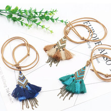 Bohemia Handmade Mix Color Tassel Long Chain Necklaces for Women Vintage Gypsy Totem Pendant Necklaces Sweater Chain Choker(China)