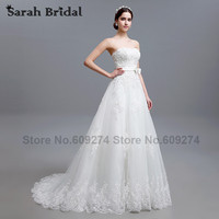 A Line Wedding Dresses White Lace Tulle 2015 New Fashionable Sweetheart Bow Waist Long Bridal Gowns