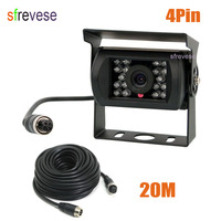 4 Pin IR Night Vision CCD Color Vehicle Car Rear view Reverse Reversing Parking Backup Camera Wide View Waterproof + 20m cable