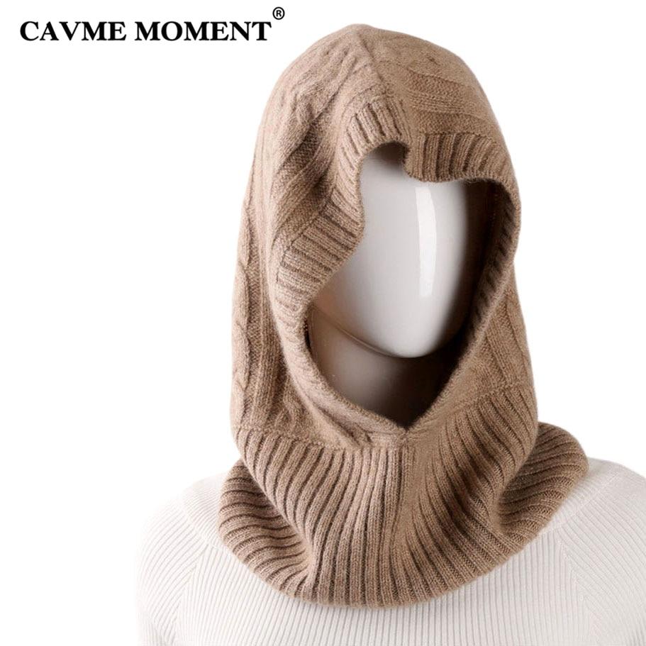 CAVME Winter Cashmere   Skullies     Beanies   Hats Caps for Women Men Ladies Khaki Solid Color Knitted Hat Cap 99% Cashmere 156g