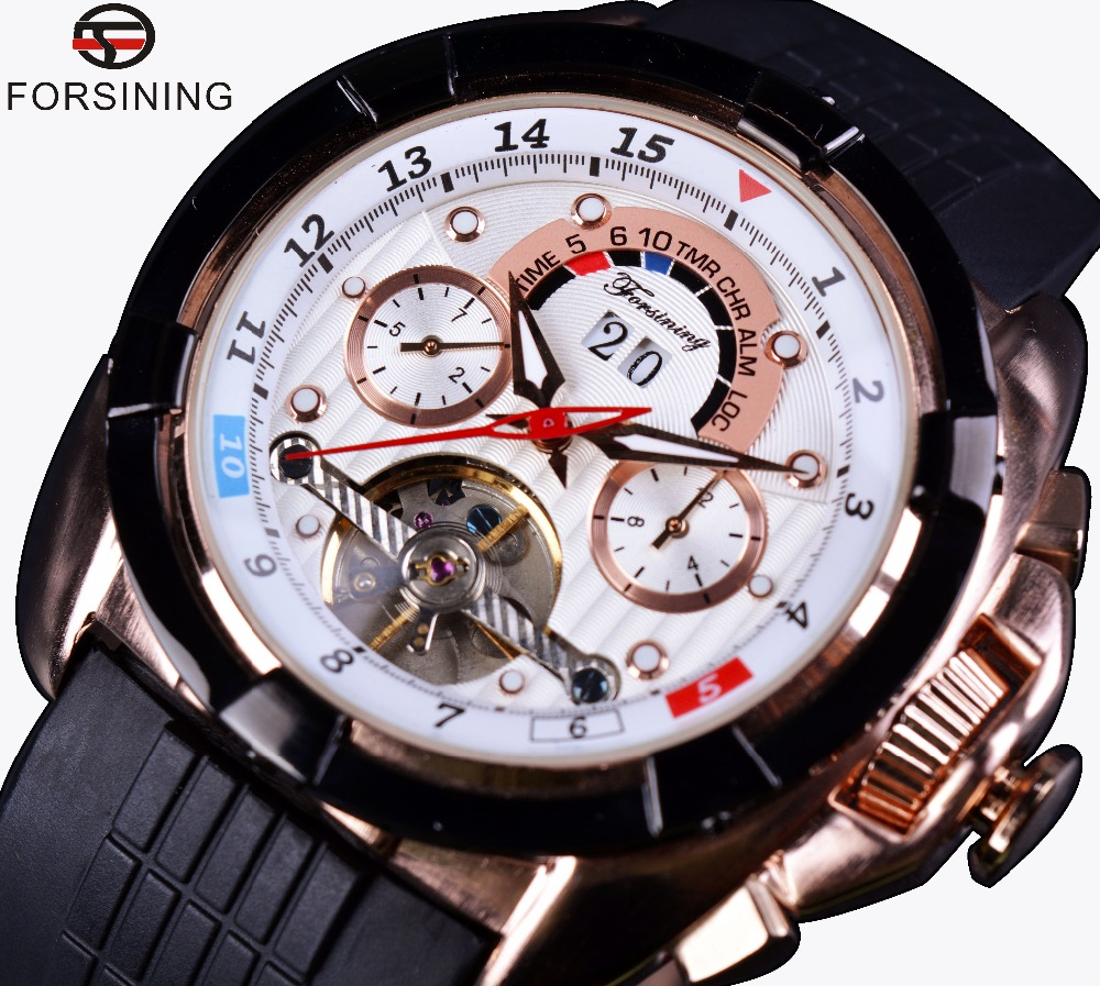 Forsining Multifunction Date Day Display Rose Gold Case Rubber Band Tourbillon Mens Watch Top Brand Luxury Sport Automatic Watch forsining multifunction tourbillon date day display rose golden watch men luxury brand automatic watch fashion men sport watches