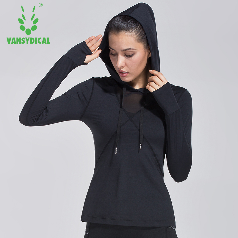 Women Running Shirt Hooded Mesh Black Long Sleeve Sext Tops for Gym Fitness Workout Vansydical stylish hooded long sleeve spliced slimming hoodie for women