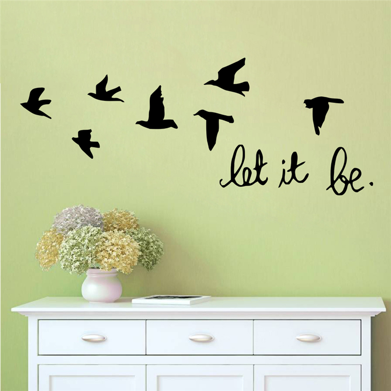 let it be quotes flying birds wall decals home decoration living room bedoom removable stickers diy vinyl art black