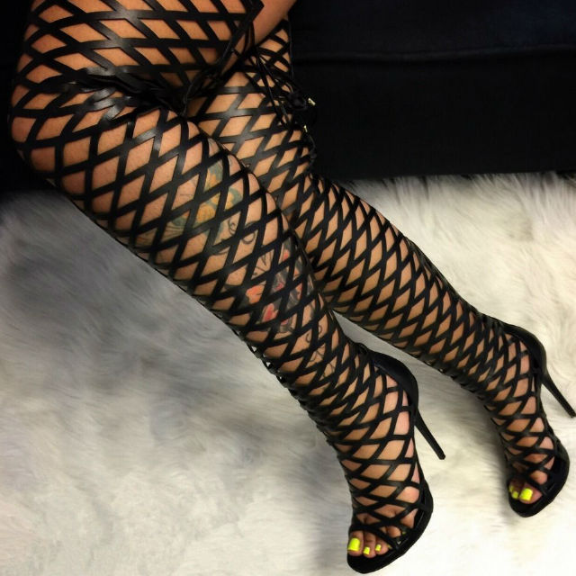 e9dd914f59 Hot selling black leather caged gladiator boots 2017 Woman open toe thigh  high boots sexy cutouts over the knee high heel boots