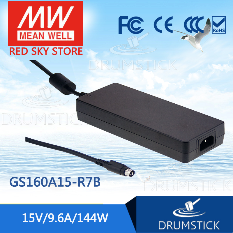 Selling Hot MEAN WELL GS160A15-R7B 15V 9.6A meanwell GS160A 15V 144W AC-DC Industrial Adaptor best selling mean well gst60a15 p1j 15v 4a meanwell gst60a 15v 60w ac dc high reliability industrial adaptor
