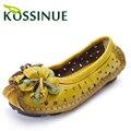 Tamaño grande 35-41 Nueva Mujer Zapatos de Cuero Genuino Sandalias Femeninas Recorte Zapatos Mocasines de Verano Flor de La Moda de Las Mujeres los planos de las Sandalias