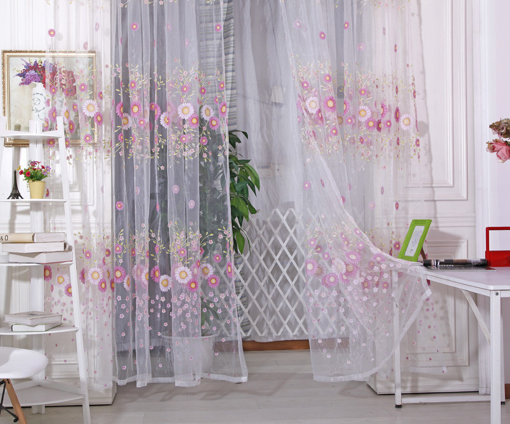 Voile Curtain For Bedroom Printing Sunflower Translucent Window Sheer Tulle Fabric Flower