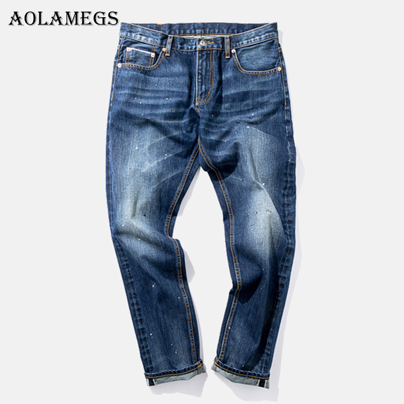 Aolamegs Biker Ripped Jeans For Men Point Blue Pants Mens Selvage Skinny Jeans Brand Baggy Denim Cotton Trousers Bottoms Fashion