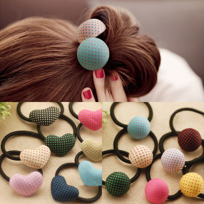 LNRRABC 3PCS/Set Print Heart Pentagram Round Candy Color Girls Lovely Hair Rope Elastic Hair Bands Hair Accessories lnrrabc winter skullies