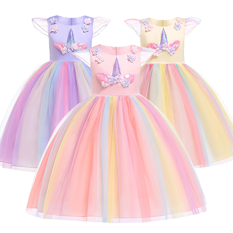Nuevos vestidos para niños para niñas Vestido de fiesta de unicornio de Pascua Vestido de princesa de niña pequeña de verano para disfraz Vestido de boda de carnaval para niños