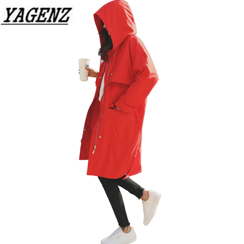 Female Windbreaker 2018 Korea Loose BF Long-sleeved Women's Hooded Long   Trench   Coats Spring Casual Raincoat Business Outerwear
