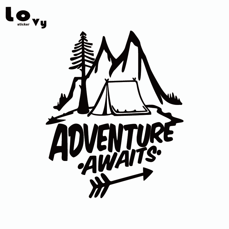 Adventure Awaits Vinyl Car Sticker Pine Tree, Travel