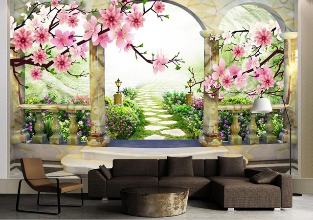 Exceptionnel Custom 3d Wall Murals Background Peach Landscape 3d Stereoscopic Wallpaper  For Living Room Bedroom Dining Room