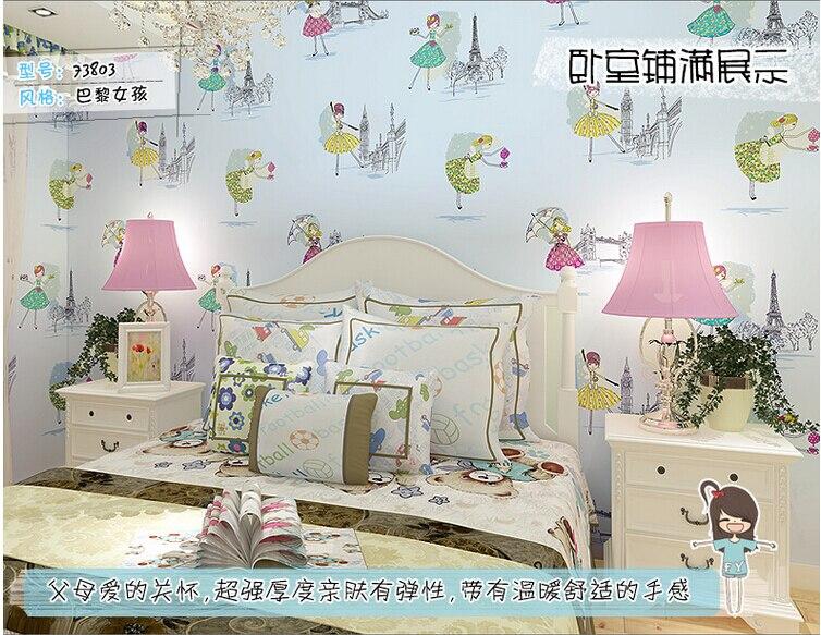 QZ 06 Cartoon Paris Girl Childrenu0027s Room Wallpaper Princess Bedroom  Background Wallpaper Environmental Non Woven Wallpaper In Wallpapers From  Home ...