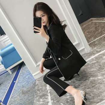 Two-piece womens suit fashion temperament commuter casual pants professional small jacket female 2 piece set