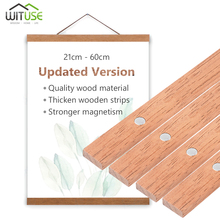 Magnetic Wood Hanger Poster Frame Hanging printed Wall Art Home Decor DIY Teak Painting Canvas Photo