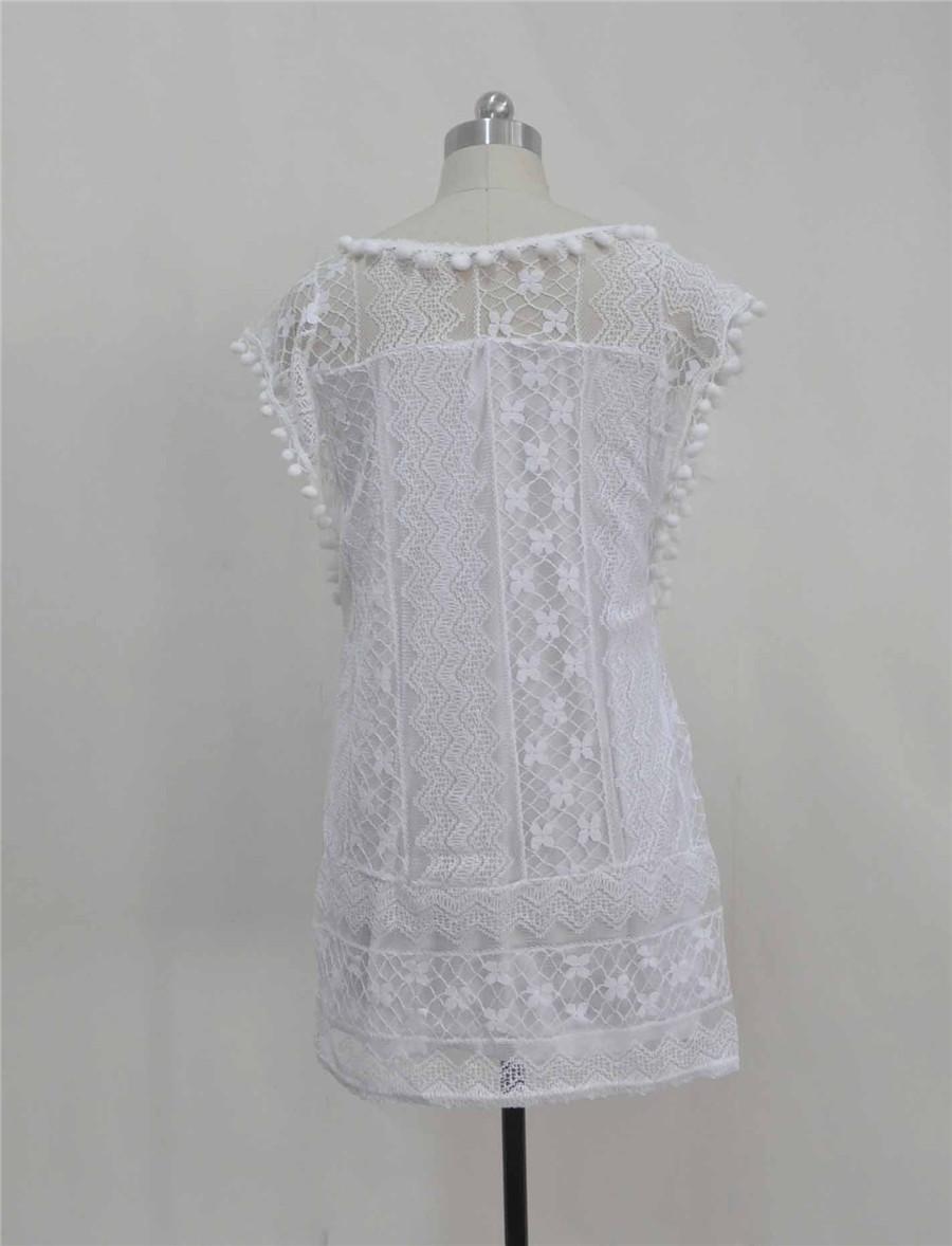 White Lace Sleeveless O-Neck Sexy Hollow Out Mini Dress 5