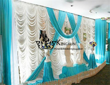Wavy Shape Design Wedding Backdrop Curtain in White And Turquoise Wedding Drapes