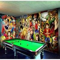 Custom 3D Large Mural Piece Theme Restaurant KTV Cartoon Pirate Luffy Seamless Wallpaper Background Wallpaper Papel